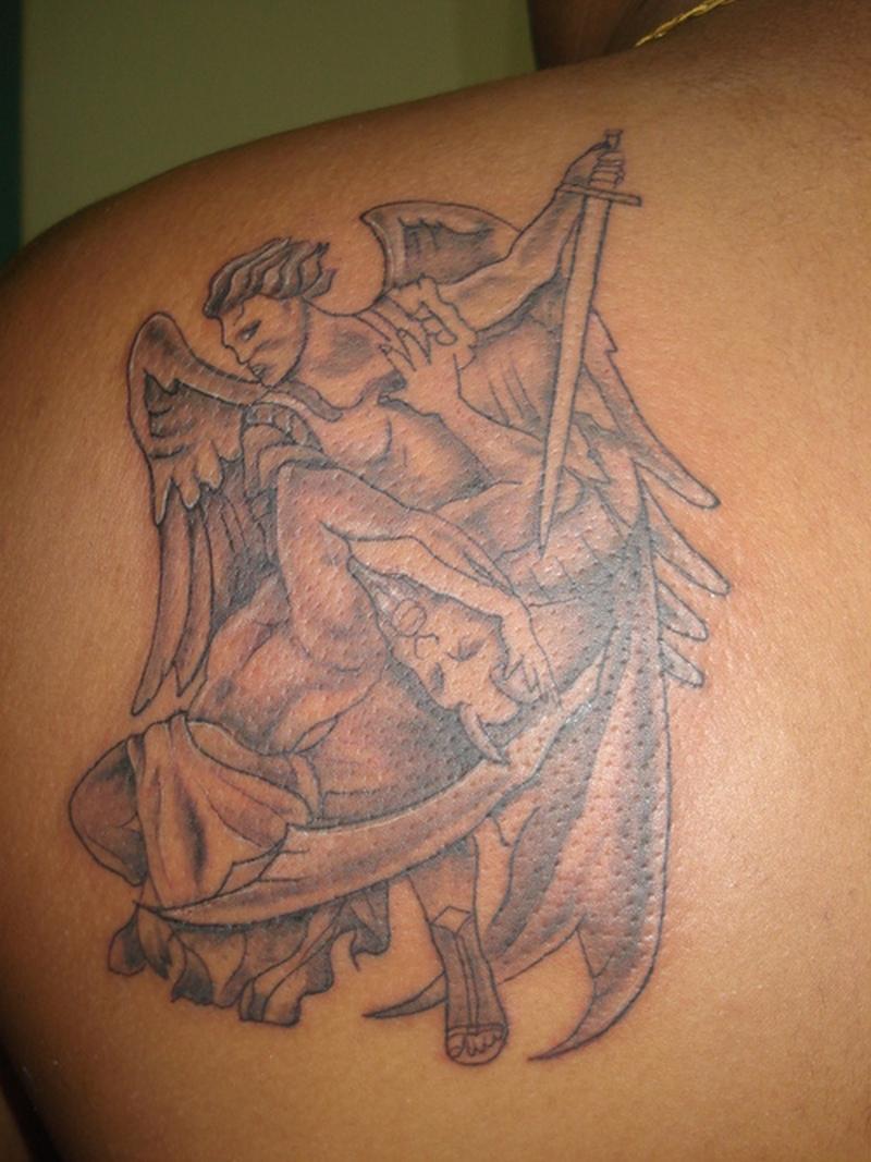Angel vs devil tattoo on back shoulder - Tattoos Book - 65 ...