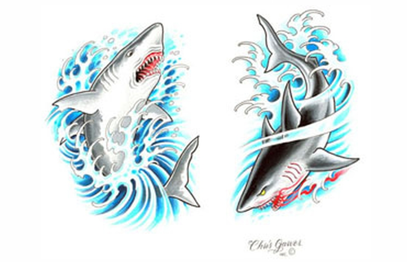 Aqua shark tattoo design