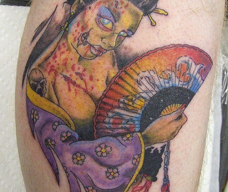 Awesome zombie geisha tattoo