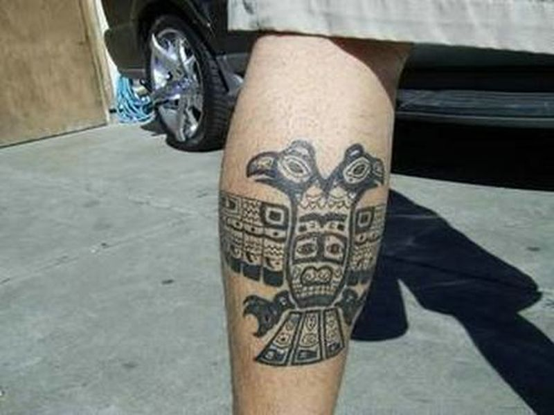 Aztec bird tattoo design on leg
