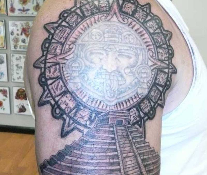 Aztec pyramid tattoo