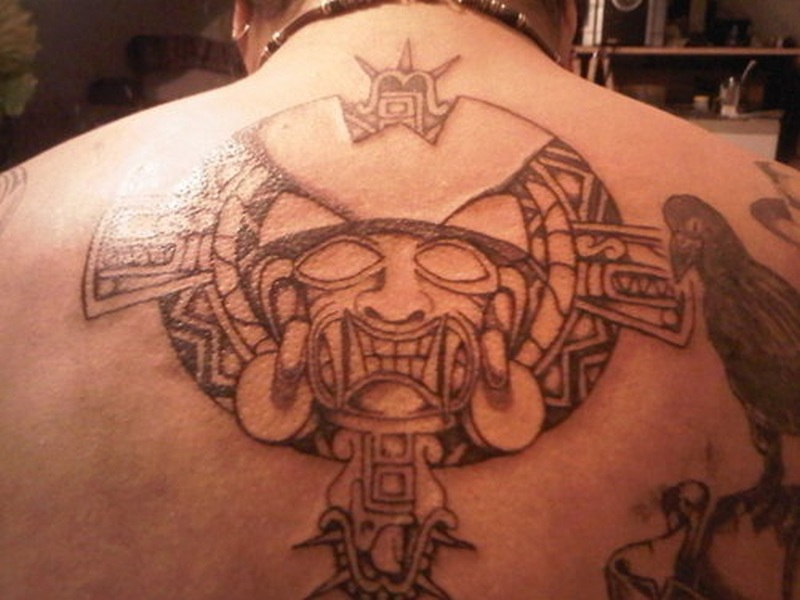 Aztec tribal design tattoo