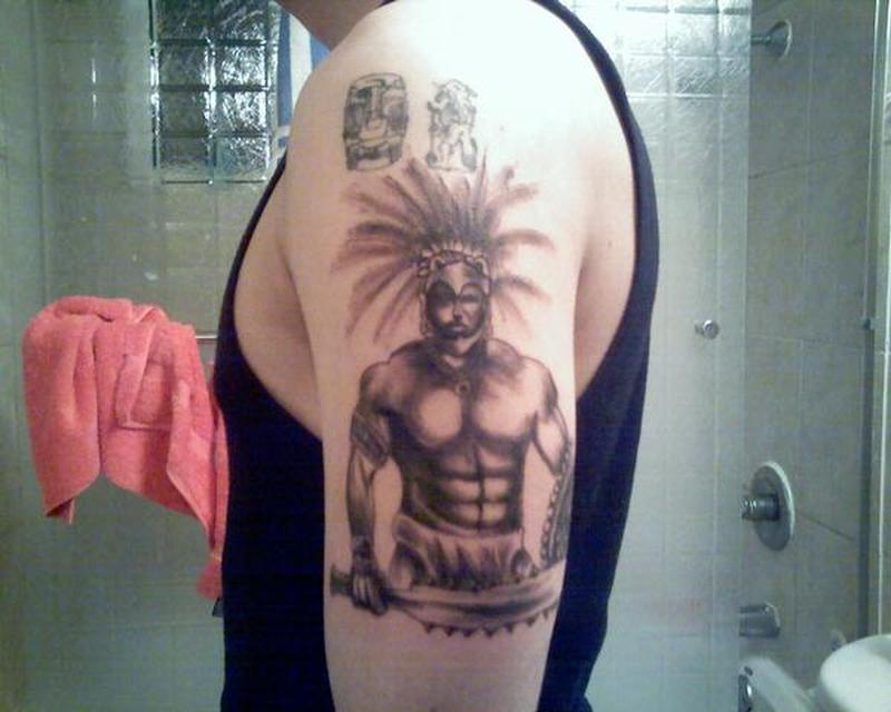 Aztec warrior on muscles tattoo