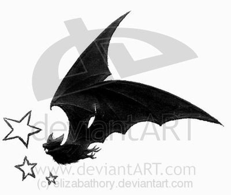 Bat stars tattoo design