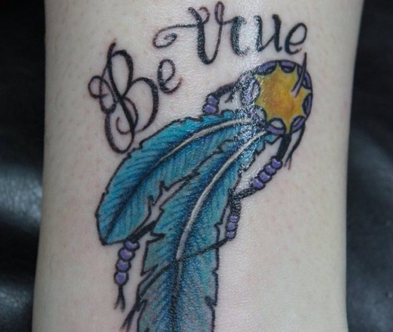 Be true feather tattoo design
