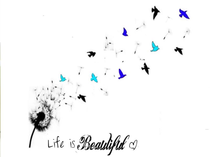 Beautiful birds dandelion tattoo image