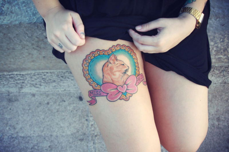 Best cat tattoo design on thigh