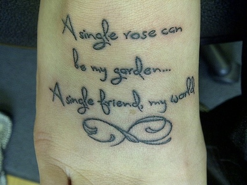 Best friend quote n infinity symbol tattoo on foot