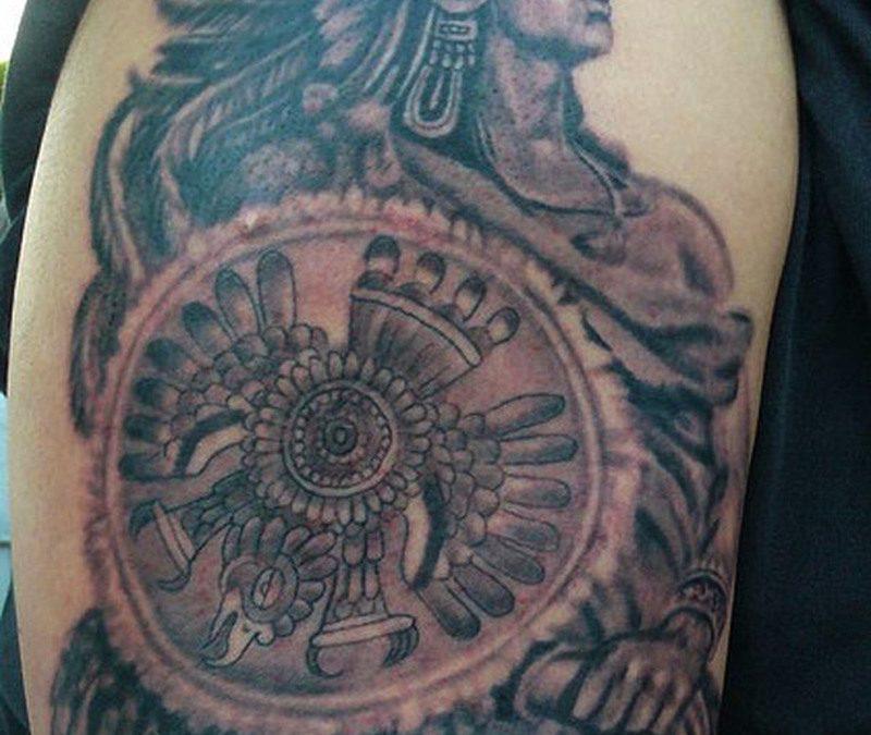 Biceps aztec warrior tattoo