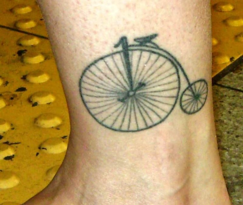 Bicycle tattoo on ankle