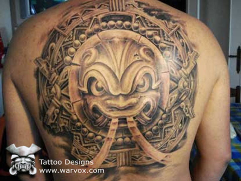 Big aztec tattoo on back for guys