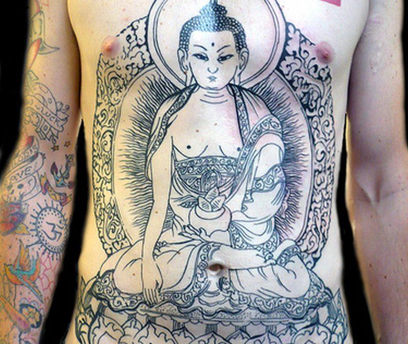Big buddha belly button tattoo design
