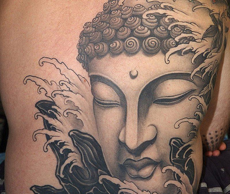 Big buddha head tattoo on back for men