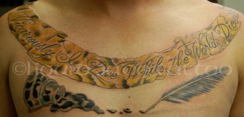 Big chest banner tattoo