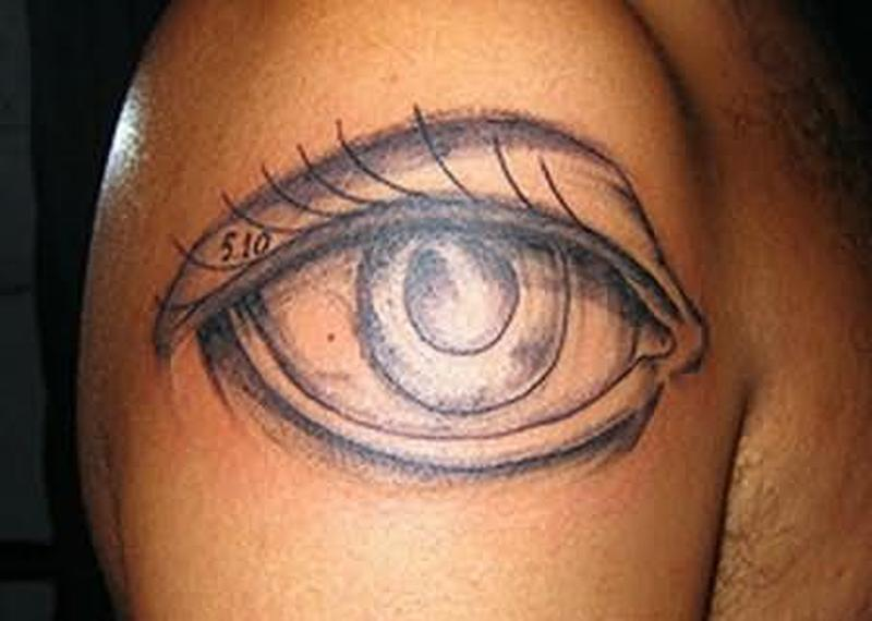 Big eye tattoo on shoulder