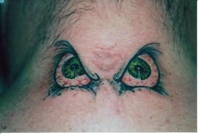 Big eyes fantasy tattoo on neck