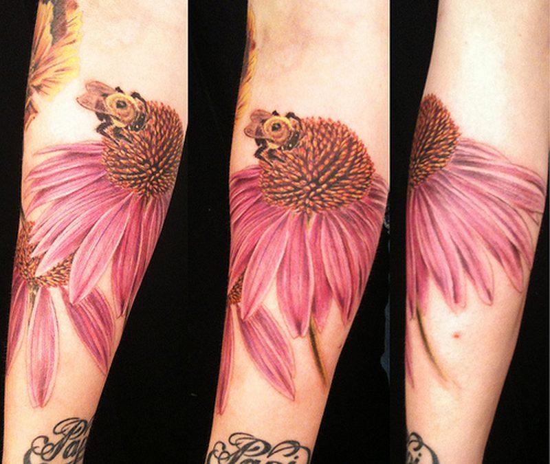 Big forearm bee tattoo designs