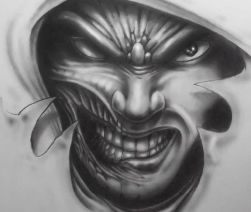 Biomech horror tattoo design 2