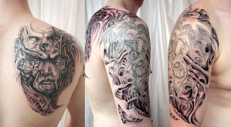 Biomechanic horror sleeve tattoo design for men