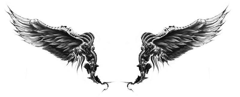 Biomechanical angel wings tattoo design