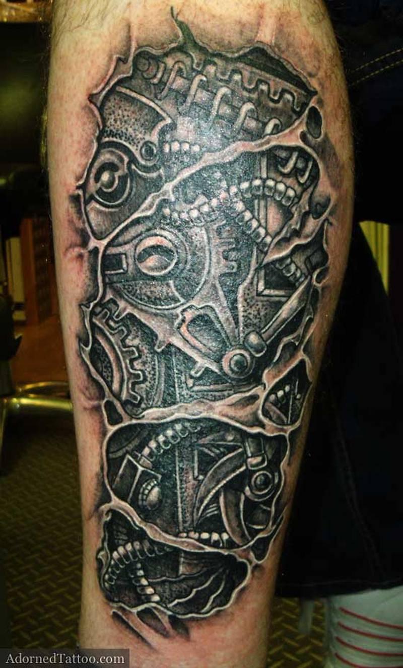 Biomechanical calf tattoo design - Tattoos Book - 65.000 Tattoos ...