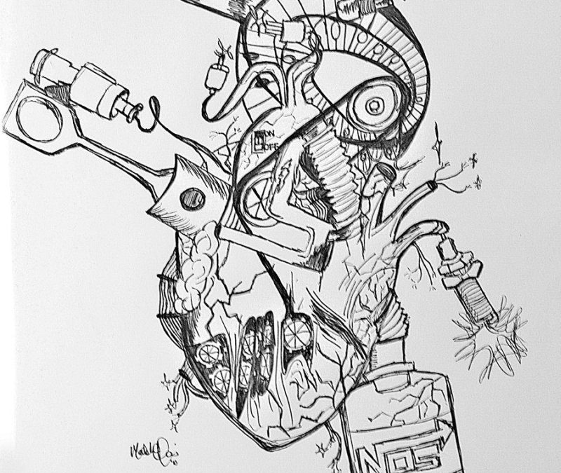 Biomechanical heart tattoo sketch