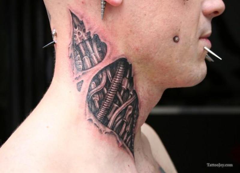 Biomechanical neck tattoo design