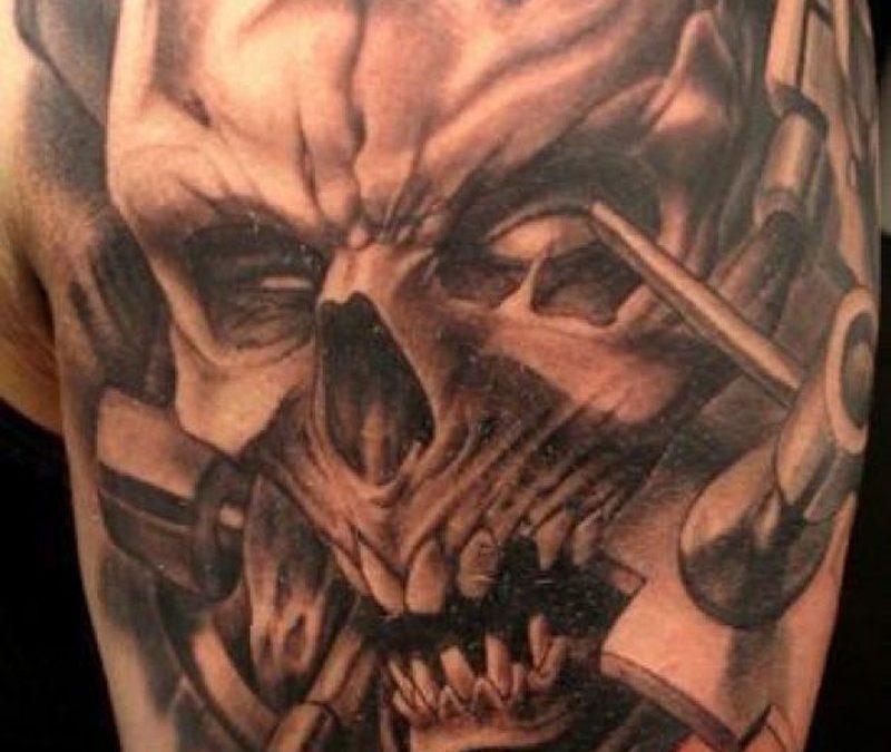 Biomechanical skull tattoo sample