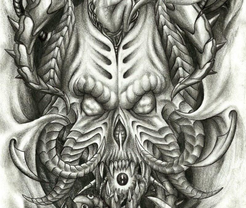 Biomechanical skulls tattoo design