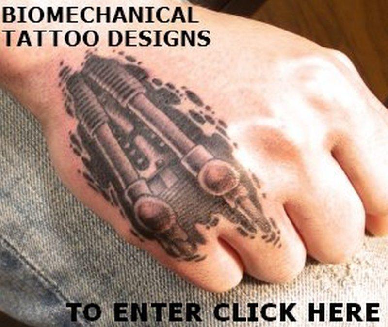 Biomechanical tattoo design on hand