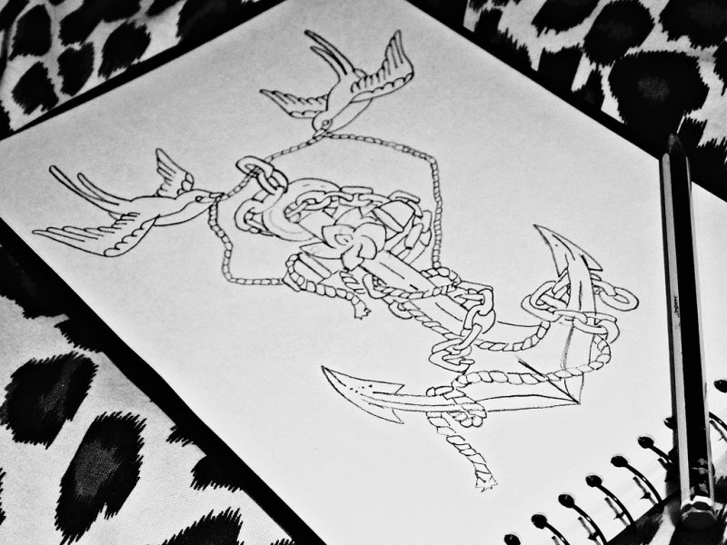 Bird anchor outline tattoo