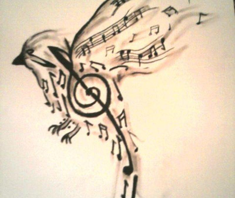 Bird made up of music notes tattoo design