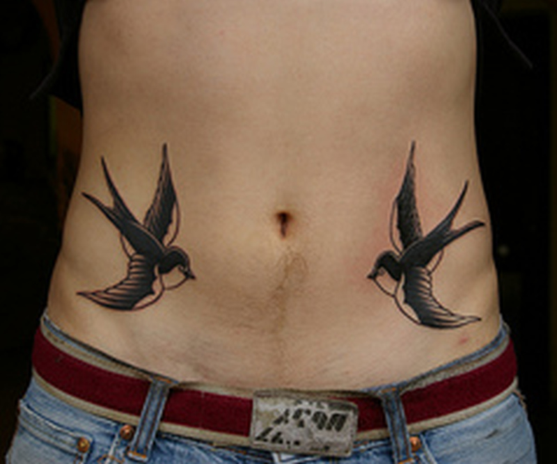 Birds tattoo design on belly