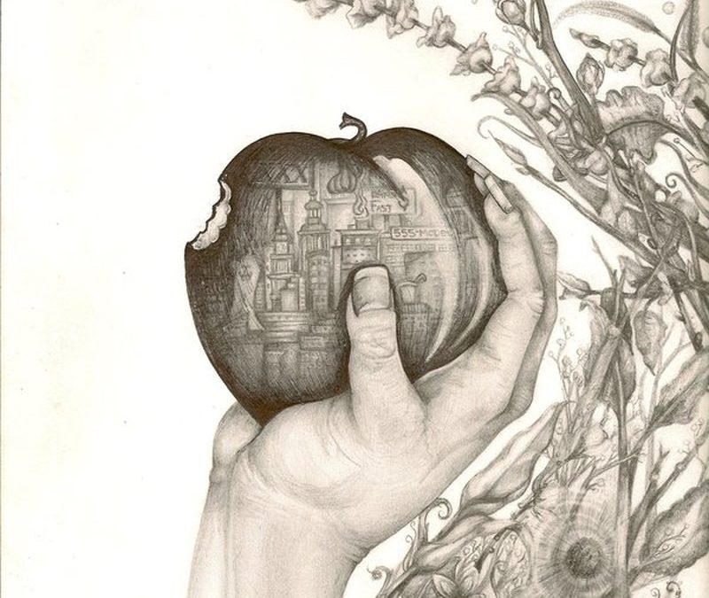 Bitten apple in hand tattoo