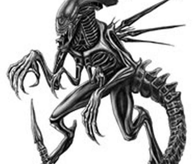 Black and white alien tattoo design