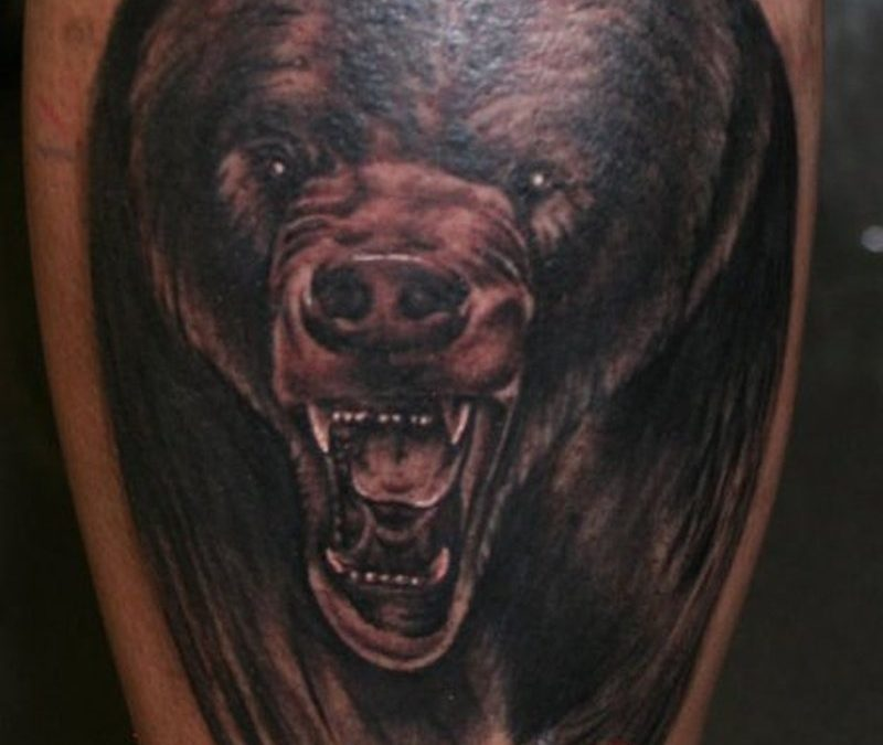 Black angry bear tattoo design