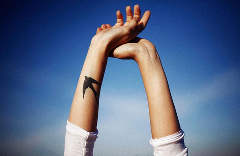 Black bird tattoo on forearm
