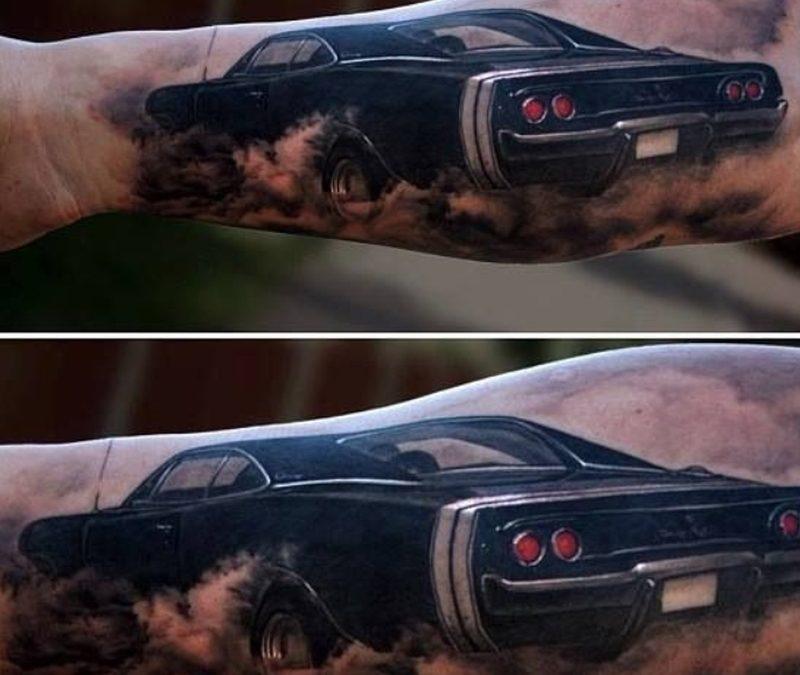Black classic car tattoo design