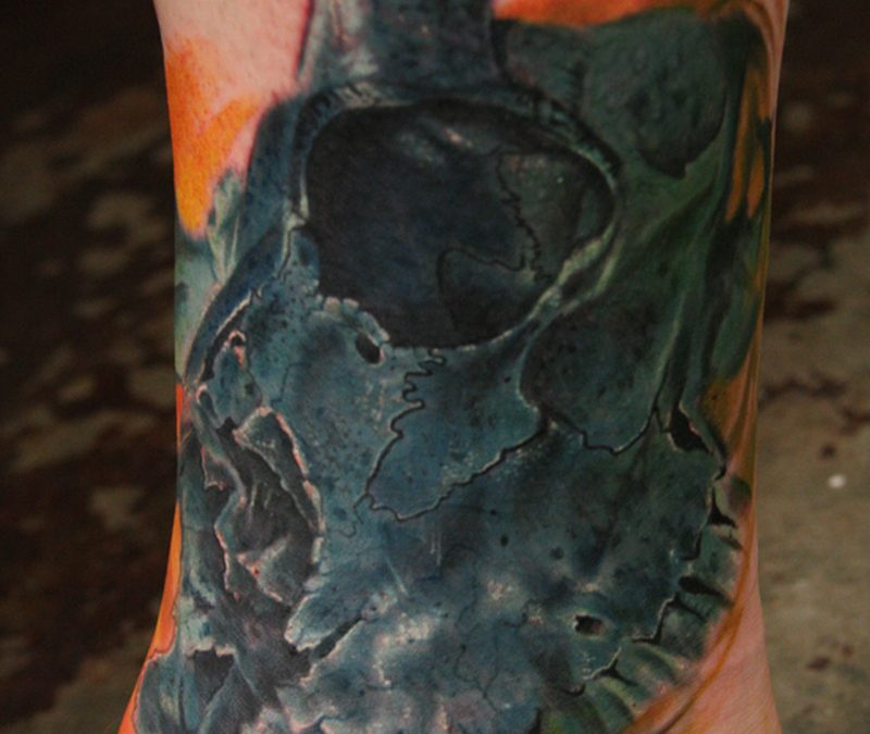 Black deer skull tattoo design