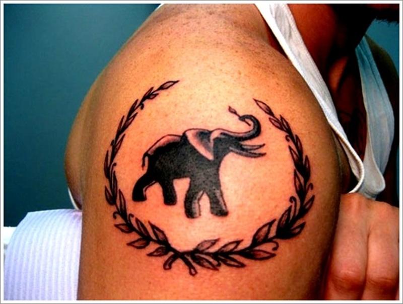 Black elephant tattoo design for men on sleeve