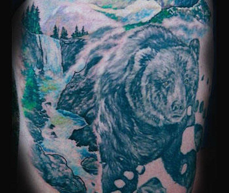 Black forest bear tattoo design