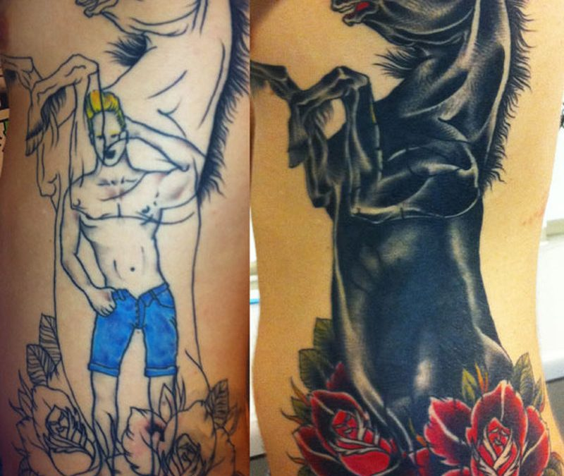 Black horse stallion cover up tattoo design