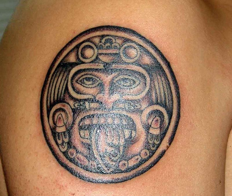Black ink aztec tattoo for guys