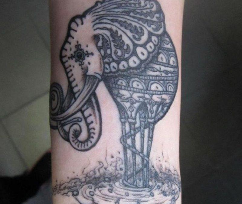 Black n grey elephant tattoo