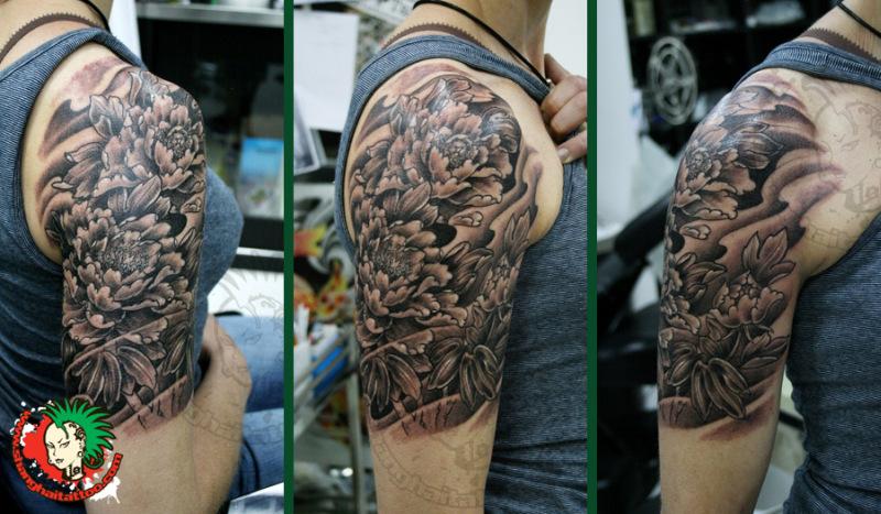 Black peony half sleeve tattoo design