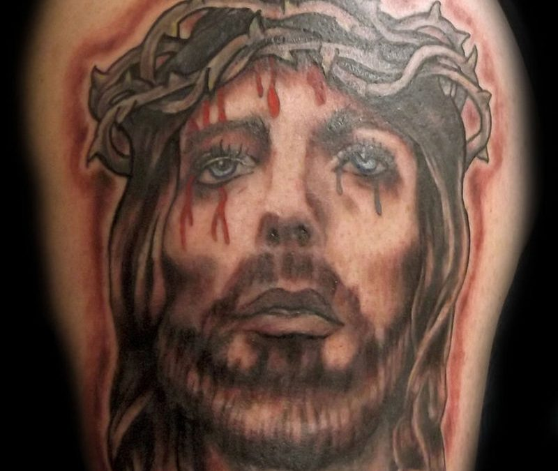 Bleeding jesus portrait tattoo design 2