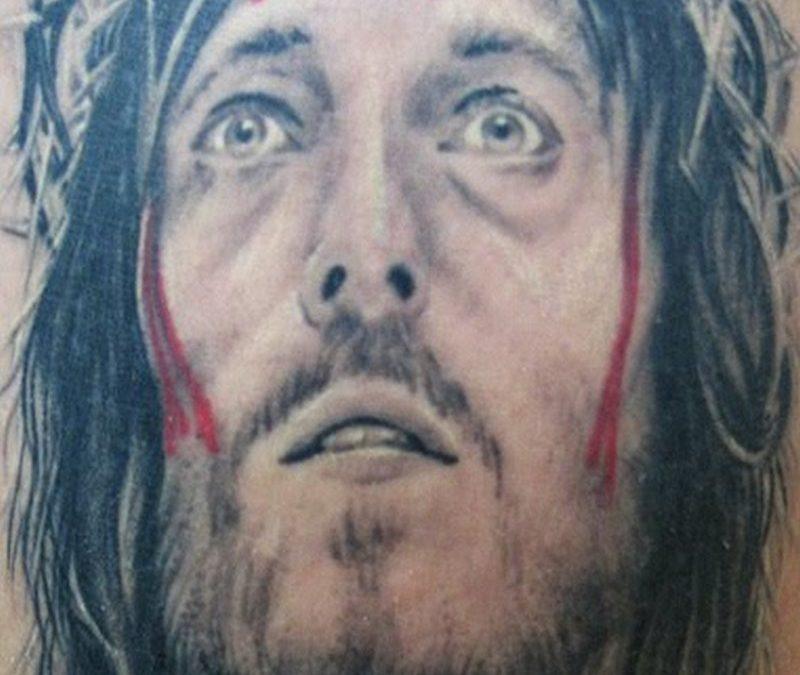 Bleeding jesus portrait tattoo design 4