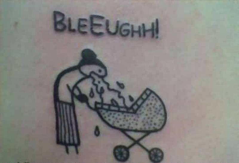 Bleeugh funny tattoo picture