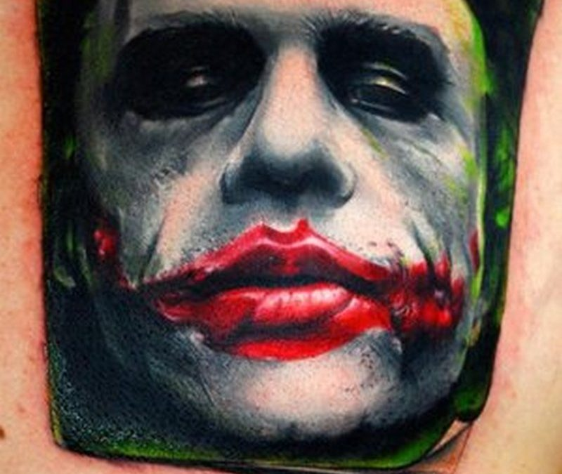 Bloody lips joker tattoo design