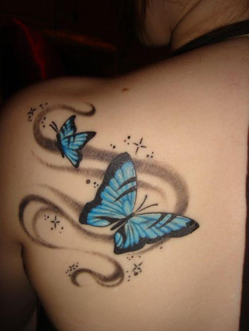 Blue butterflies 2 tattoo